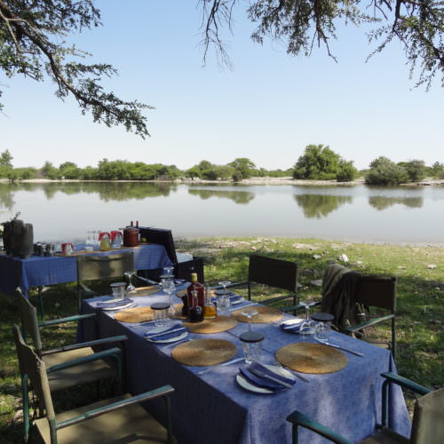 The Kalahari Riding Safari in the Makgadikgadi salt pans of Botswana. Fine dining.