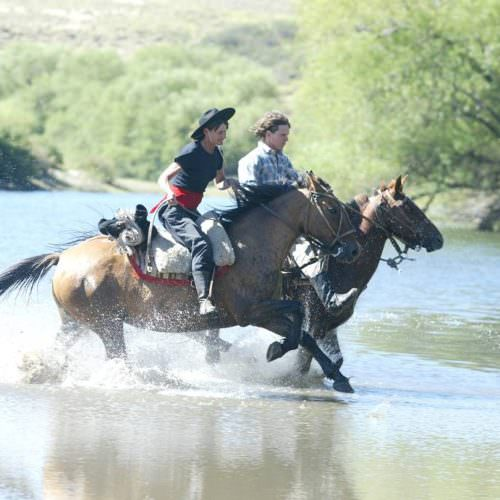 Horses cantering through water in Argentina. Riding Holidays with In The Saddle