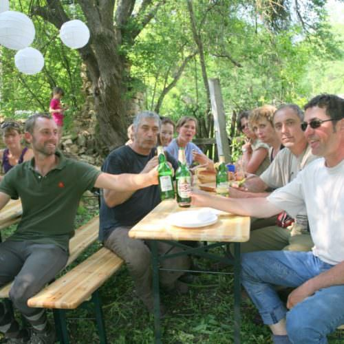 Enjoying a well earned drink. Riding holidays in Transylvania with In The Saddle.