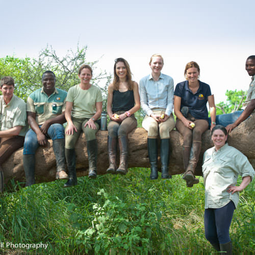 Tuli Trail mobile horseback safari holiday. Riding in Botswana. Group photo of riders.