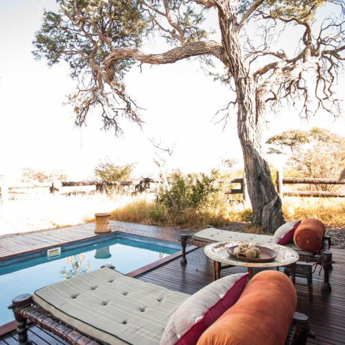 The Kalahari Riding Safari in the Makgadikgadi salt pans of Botswana. Luxury tented camp. Pool.