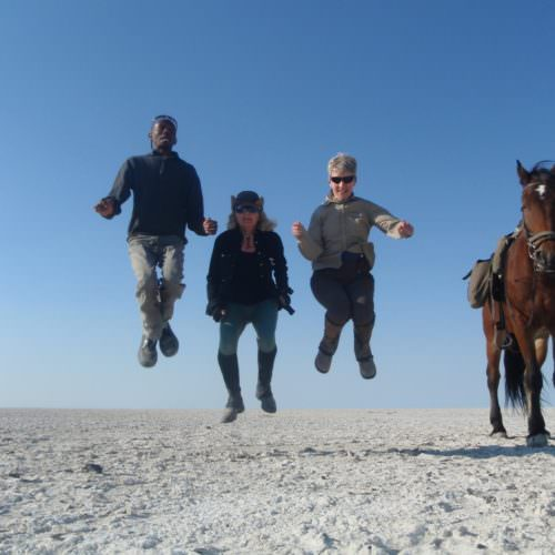 The Kalahari Riding Safari in the Makgadikgadi salt pans of Botswana. Riders