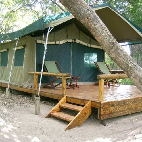 Kujwana riding safari exploring the western region of Botswana's Okavango Delta. Camping.