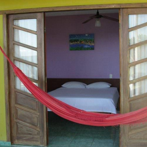 Riding Holidays in Brazil. Beach riding in Bahia. Bedroom in guest house. Hammock.