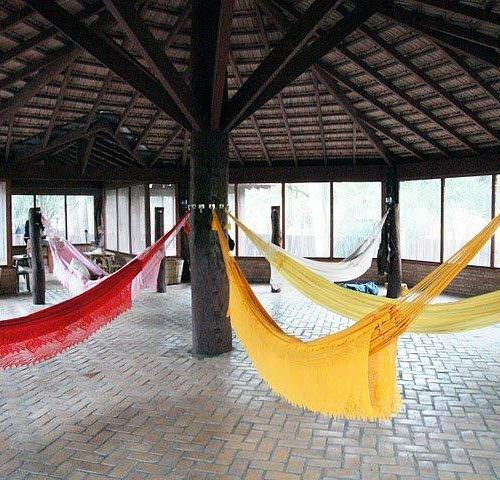 Trail riding holidays in the Pantanal, Brazil. Colourful Hammocks.