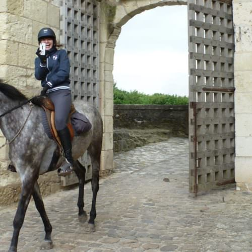 Riding at the entrance to Chateau Creully, Normandy