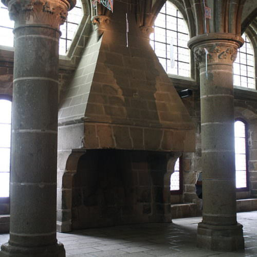 Fireplace in the Abbaye du Mont Saint Michel.