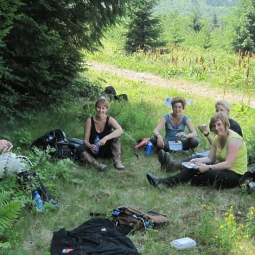Riding holidays in Transylvania with In The Saddle. Riders having picnic