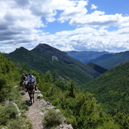 Adventurous trail riding holiday through Pyrenees Mountains, Spain. Horses, spectacular views, blue skies.
