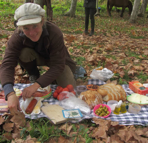 Riding holidays through the Pyrenees and coastal trails in Catalonia. Spain. Picnic lunch
