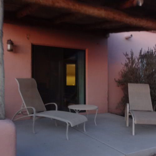 Verandah outside a guest room at Tanque Verde. Riding holidays in the US with In The Saddle.