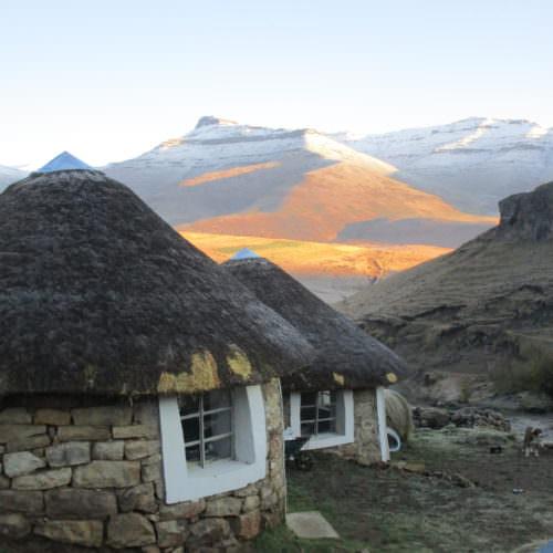 Lesotho - Thamatu Lodge rondavels