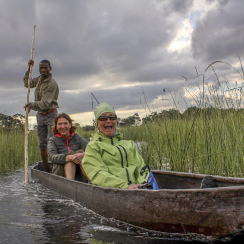 Mobile horseback safari in the Okavango Delta, Botswana. Traditional mokoros.