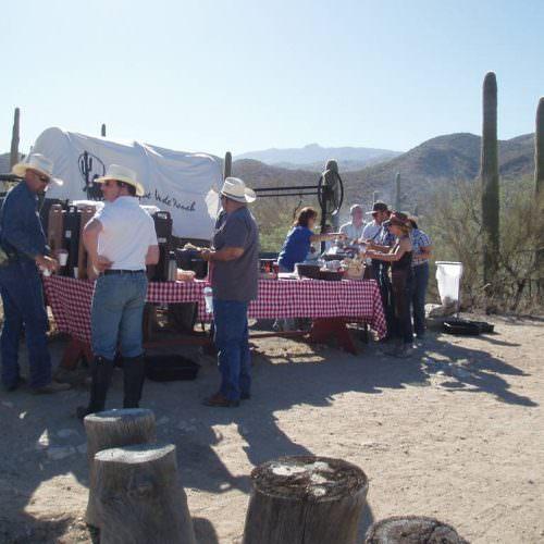 Breakfast cookout. Outdoor breakfast at Tanque Verde, Arizona.
