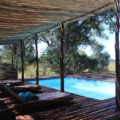 Riding Safari at Motswiri Camp, Okavango Delta, Botswana. Pool at bush camp.