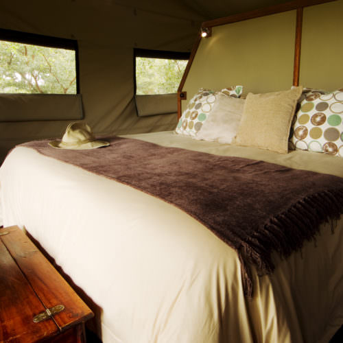 Riding Safari at Motswiri Camp, Okavango Delta, Botswana. Bush Camp bedroom.