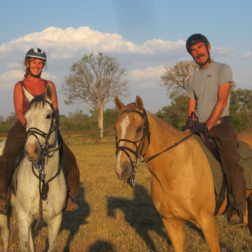 Riding Safari at Motswiri Camp, Okavango Delta, Botswana. Horses at sunset.