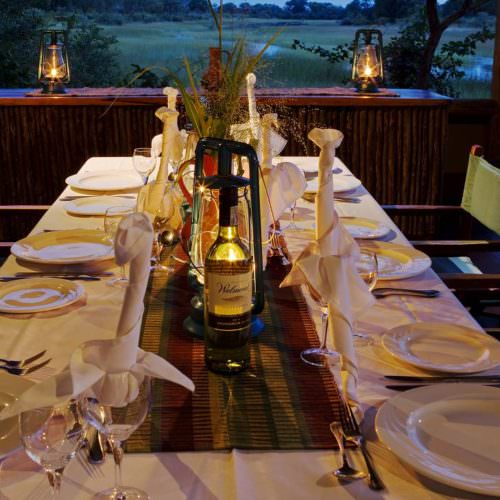 Riding Safari at Motswiri Camp, Okavango Delta, Botswana. Dining.