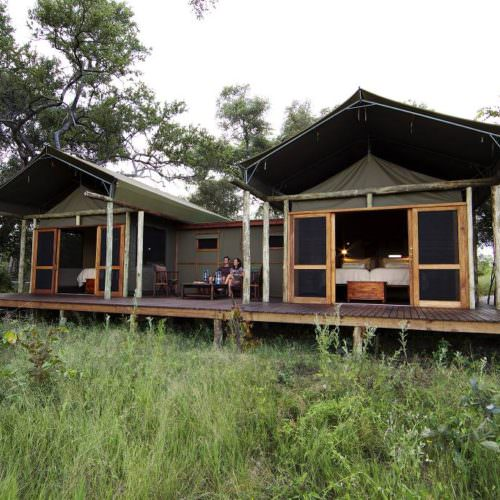 Riding Safari at Motswiri Camp, Okavango Delta, Botswana. Family Tent.