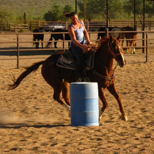 Practising barrel racing on a riding holiday at White Stallion with In The Saddle