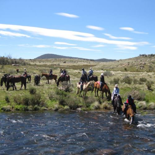 River crossing on horseback