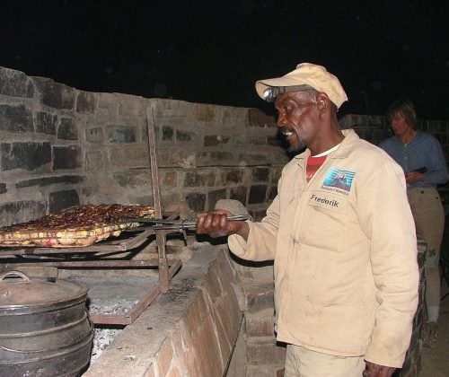 cooking over a fire in namibia