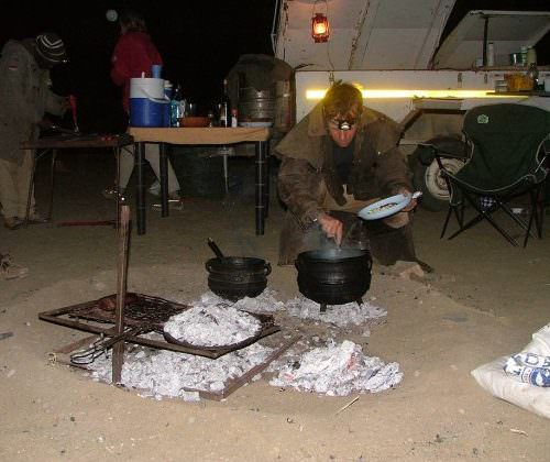 cooking over the fire in namibia