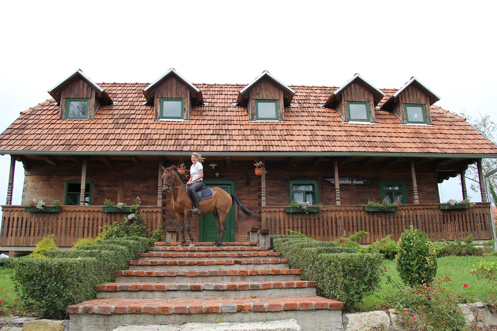 Horse in front of a traditional guest house