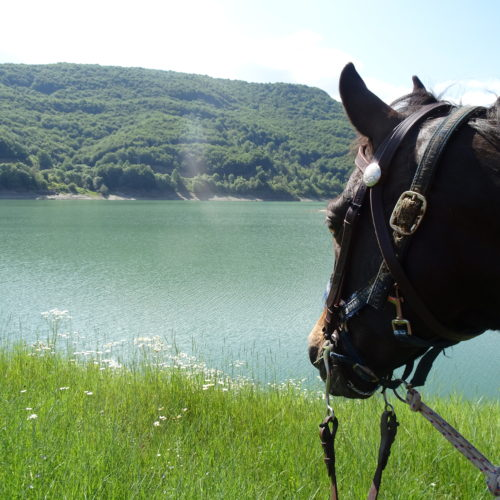 Riding along Mavrovo Lake